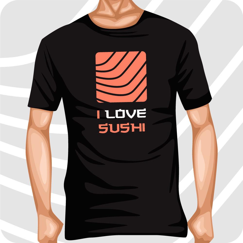 T-Shirt I love Sushi Salmone 1