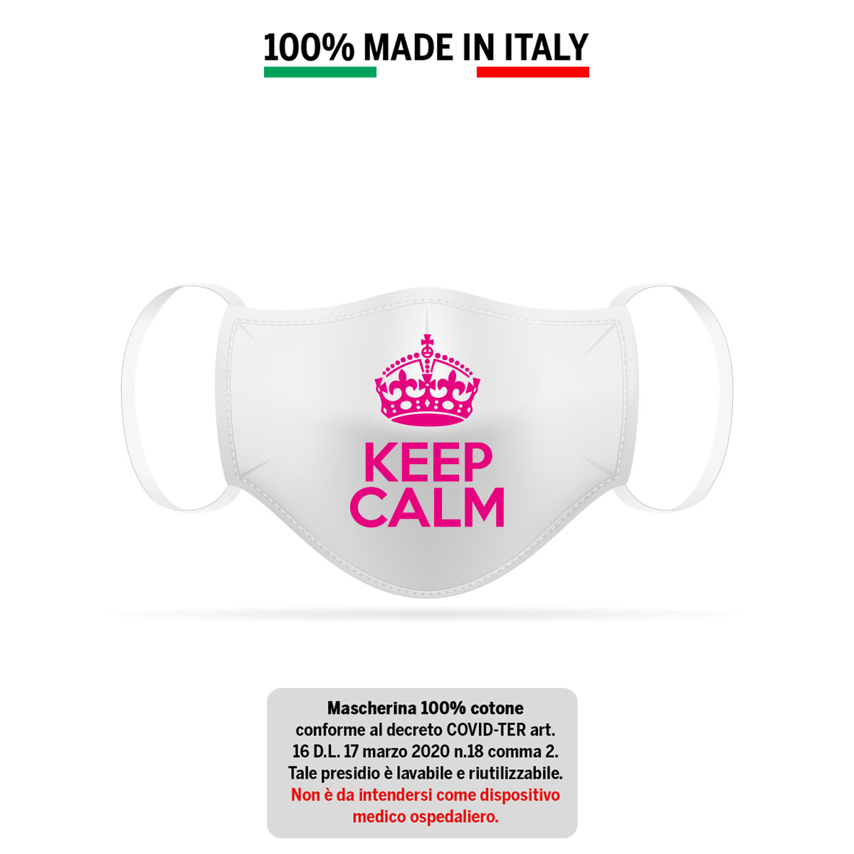 Mascherina in cotone 100% KEEP CALM 2