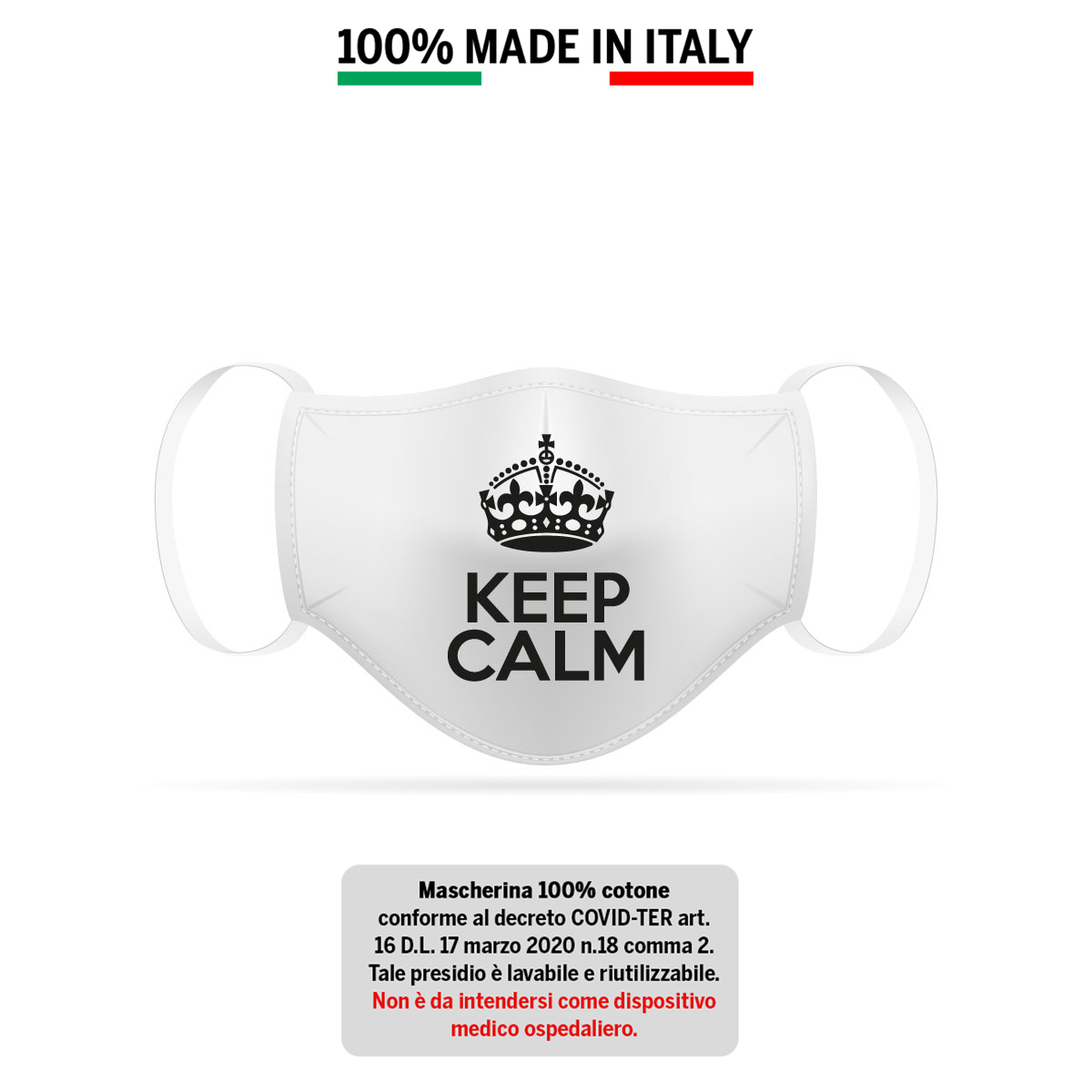 Mascherina in cotone 100% KEEP CALM 1