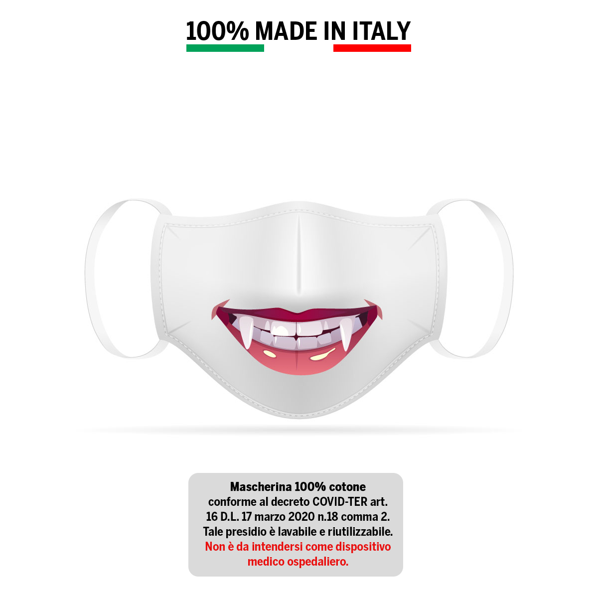 Mascherina in cotone 100% Sorriso 2