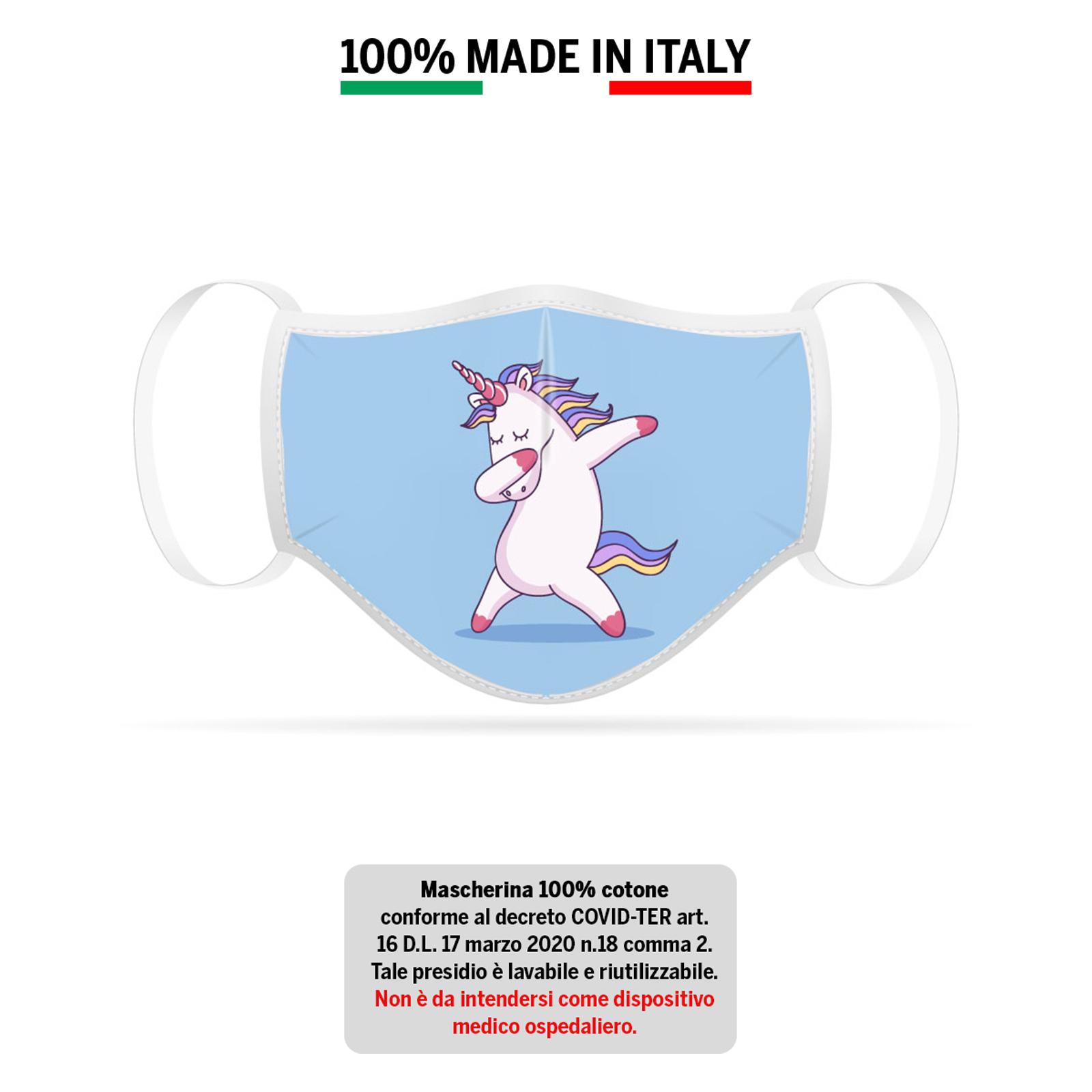 Mascherina in cotone 100% Unicorno